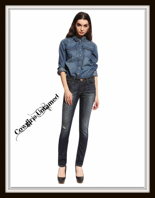 SOUTHERN BELLE JEANS Lightly Distressed Mid Wash Low Rise Skinny Jeans