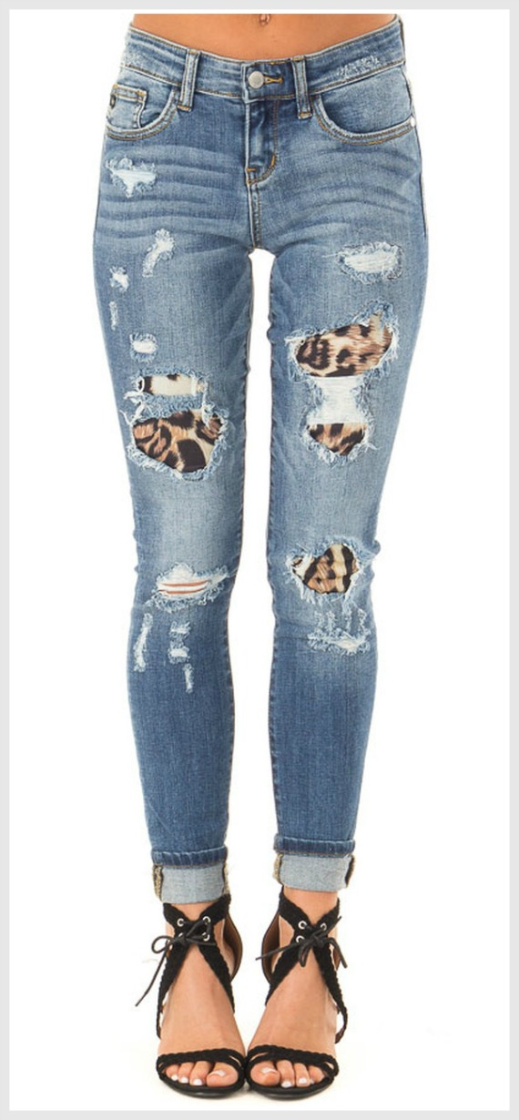INTO THE WILD JEANS Medium Wash Distressed Stretchy Skinny Jeans With Leopard Print Patch S-2X TOP SELLER!