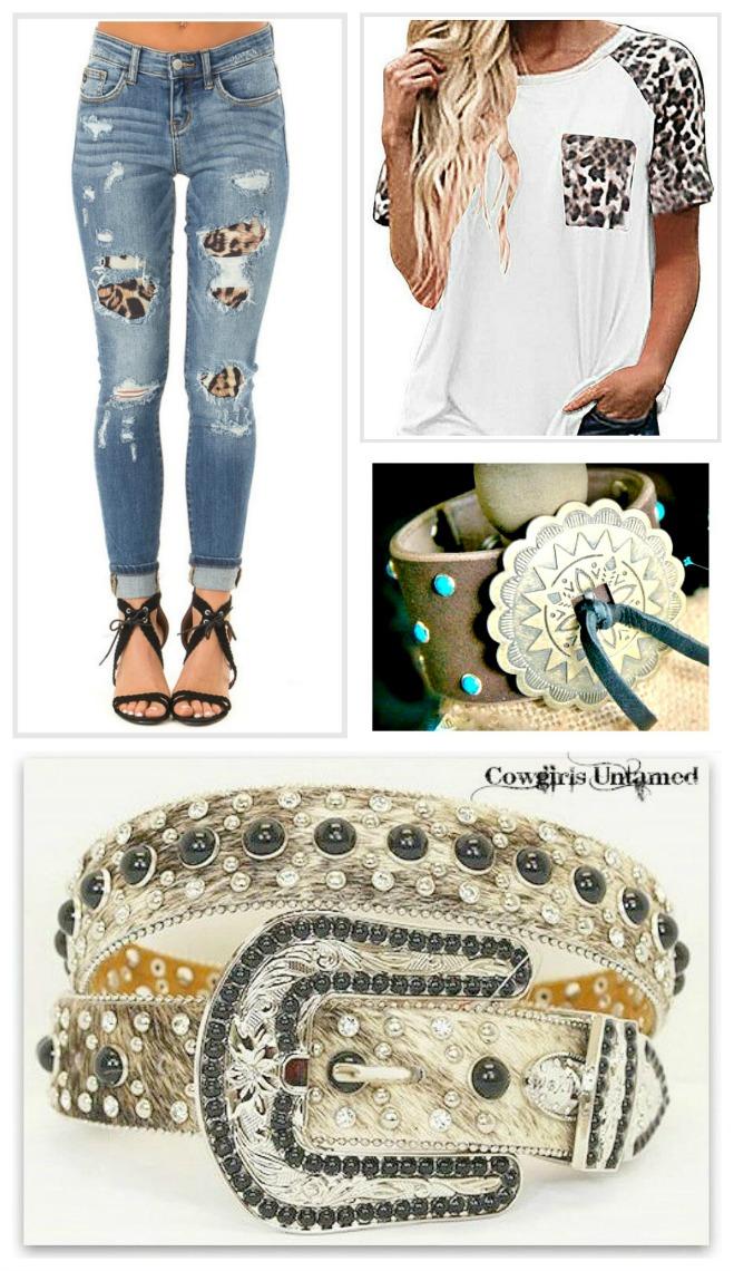 Medium Wash Distressed Stretchy Skinny Jeans With Leopard Print Patch Jeans Leopard Denim Women Plus Size Stretchy Skinny Jeans Distressed Medium Wash Brown Blue Black Mid Rise Cowgirl Trendy Fashion Boho Rocker