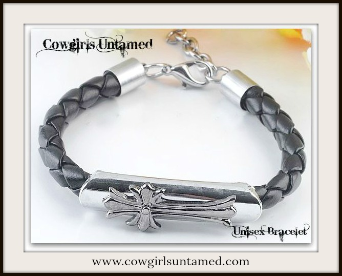 COWBOY STYLE BRACELET Cross Black Braided Leather Bracelet