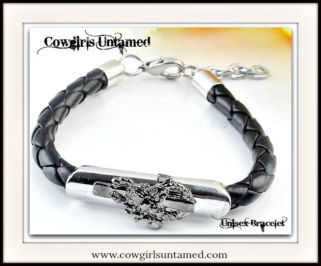 COWBOY STYLE BRACELET Scorpion Black Leather Adjustable Bracelet