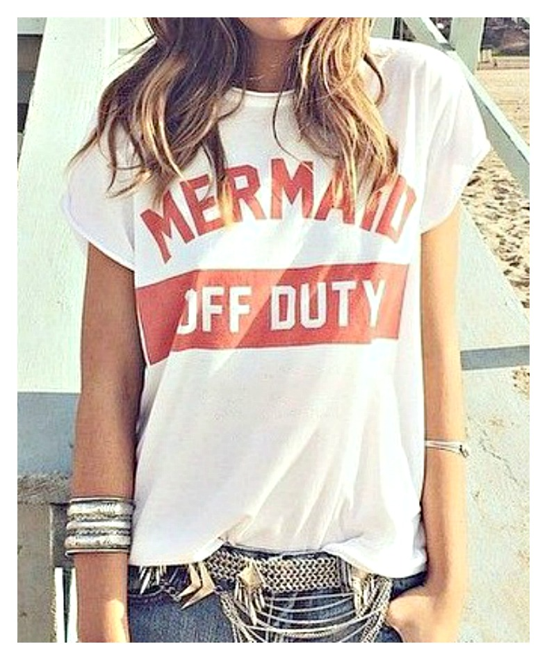 "MERMAID TOP Red ""Mermaid Off Duty"" White Short Sleeve Tee"