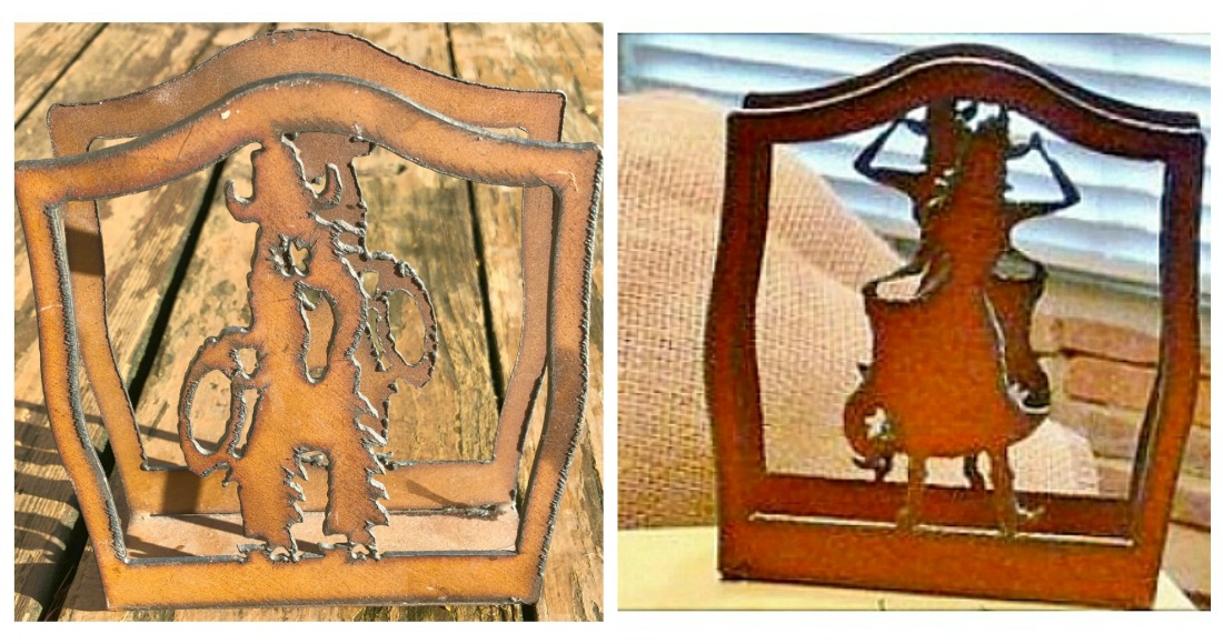 WESTERN KITCHEN DECOR Rustic Metal Cowboy or Cowgirl Cutout Napkin Holder LAST ONE!
