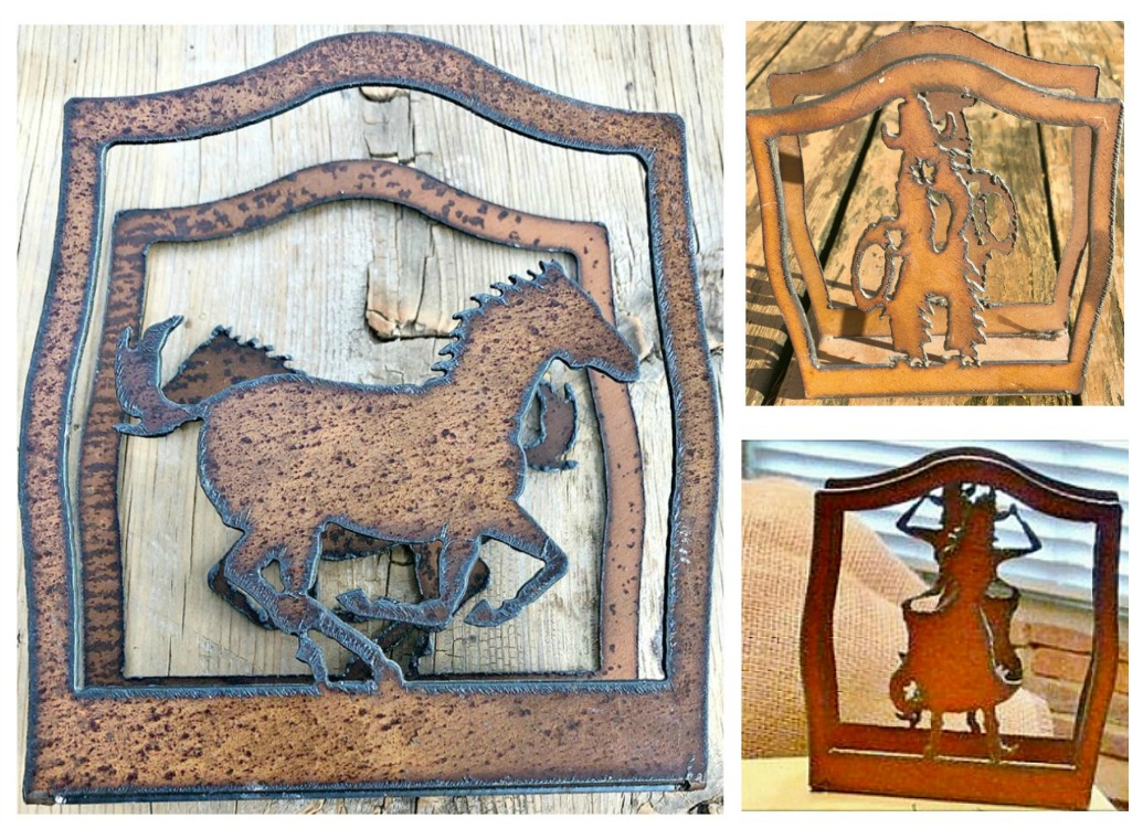 WESTERN KITCHEN DECOR Rustic Metal Cowboy or Horse or Cowgirl Cutout Napkin Holder 3 STYLES