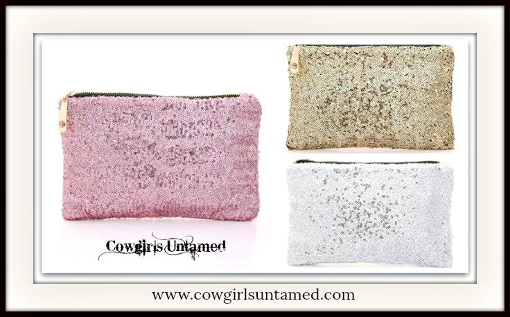 COWGIRL GLAM HANDBAG Metallic Sequin Bag/Clutch/Makeup or Coin Purse