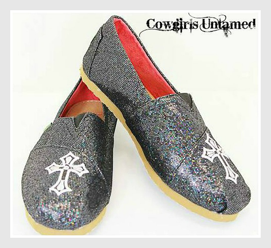 CHRISTIAN COWGIRL SHOES Black Glitter Embroidered Cross TOM'S LIKE Flat Shoes LAST ONE 8/8.5