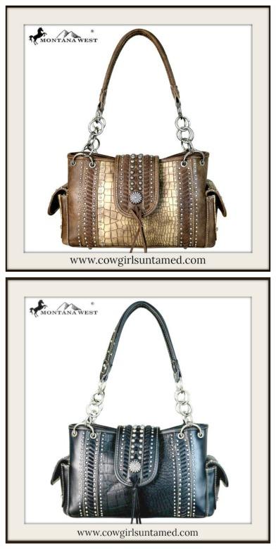 BOHEMIAN COWGIRL BAG Silver Concho Studded Crocodile Print Tassel Satchel