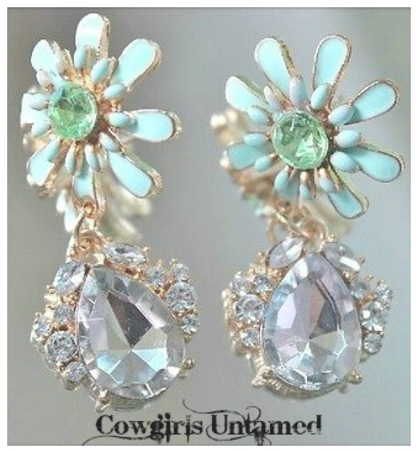 GOING GLAM EARRINGS Soft Pastel Mint Green Enamel Flower with Rhinestone Crystal Charm Earrings