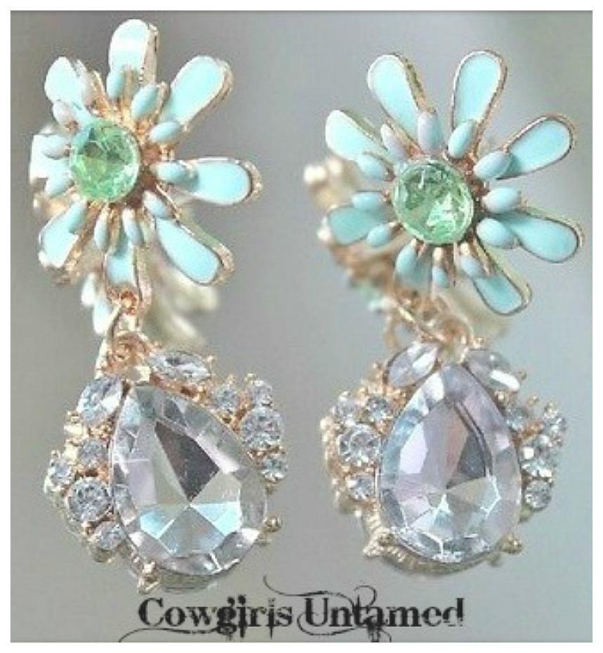 GOING GLAM EARRINGS Soft Pastel Mint Green Enamel Flower with Rhinestone Crystal Charm Earrings
