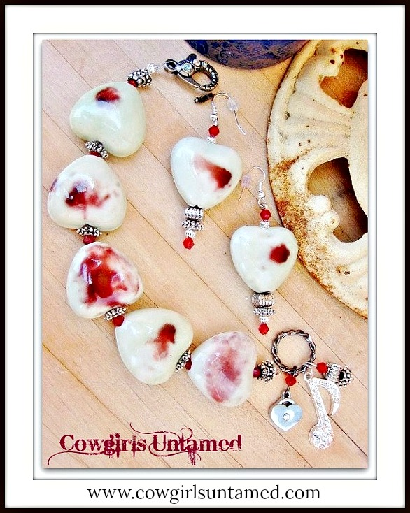 COUNTRY COWGIRL BRACELET SET Mint Green & Deep Red Hearts Red Crystals Charm Bracelet & Earring SET