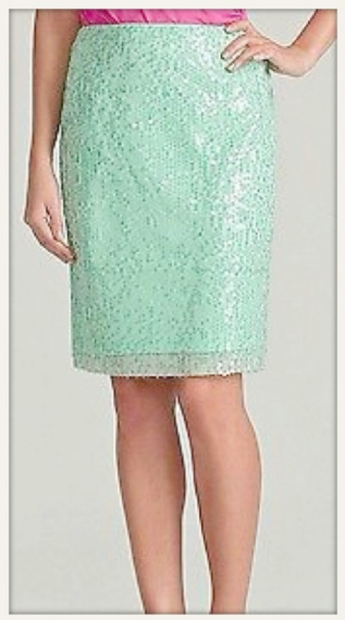 DESIGNER SKIRT Pastel Aqua Green Sequin Covered Designer Pencil Skirt