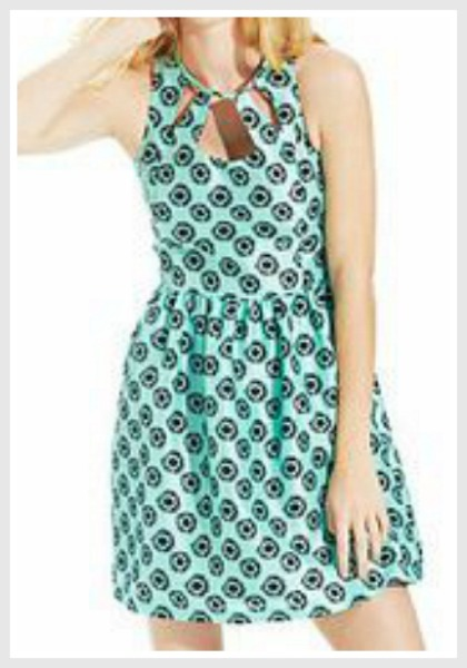 ERIC & LANI DRESS Minty Cool & Black Floral Sleeveless Summer Mini Dress LAST ONE L/XL