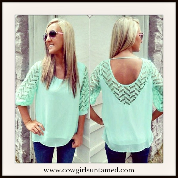 COWGIRL GYPSY TOP Beautiful Mint Lace and Chiffon Open Back Blouse
