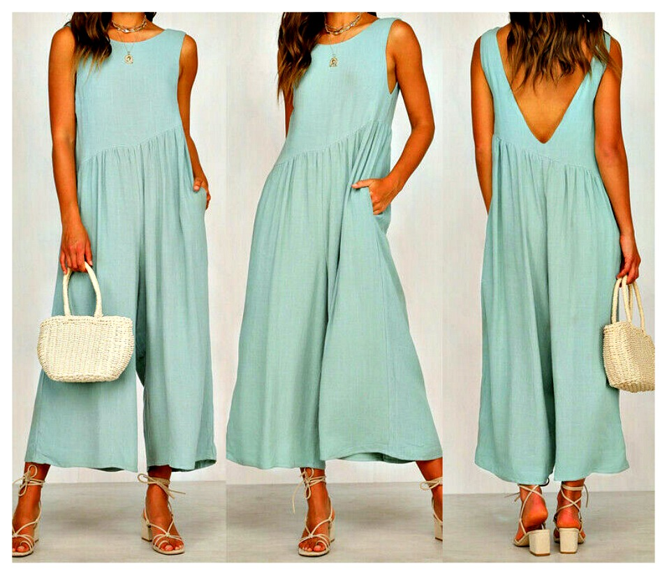 MAGNOLIAS BLOOM PANTS Mint Green Sleeveless Open Back Loose Fit Cropped Boho Jumpsuit Overalls Romper