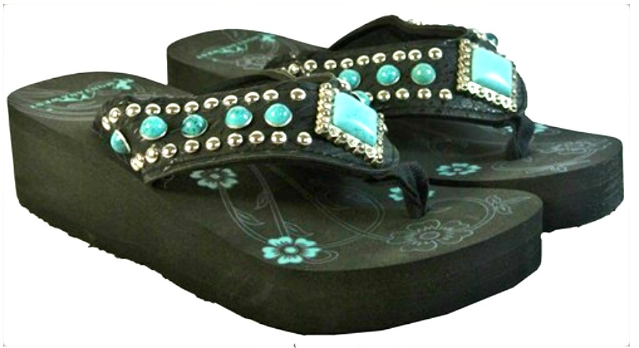 BOHEMIAN COWGIRL SHOES Diamond Shaped Turquoise Concho & Studded on Black Heel Flip Flops