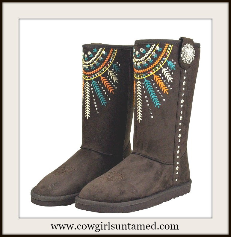 COWGIRL GYPSY BOOTS Crystal Studded Embroidered Feather Aztec Design Brown Winter Boots