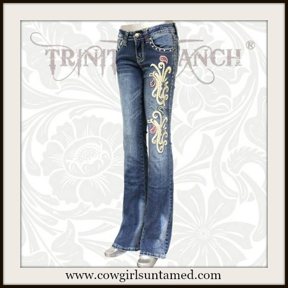 Montana West Trinity Ranch Embroidered Blue Pink Boot