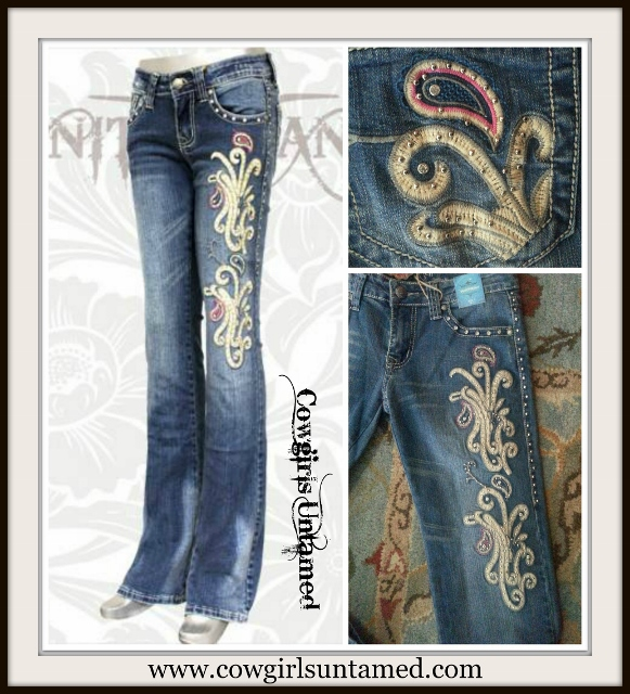 MONTANA WEST JEANS Embroidered Light Blue N Pink Paisley Splash Rhinestone Stretchy Boot Cut Western Jeans
