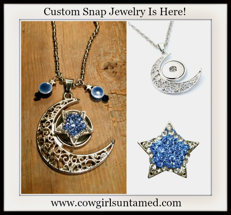 COWGIRL ATTITUDE NECKLACE Blue Crystal Star Snap with Blue Charms on Silver Filgree Moon Necklace