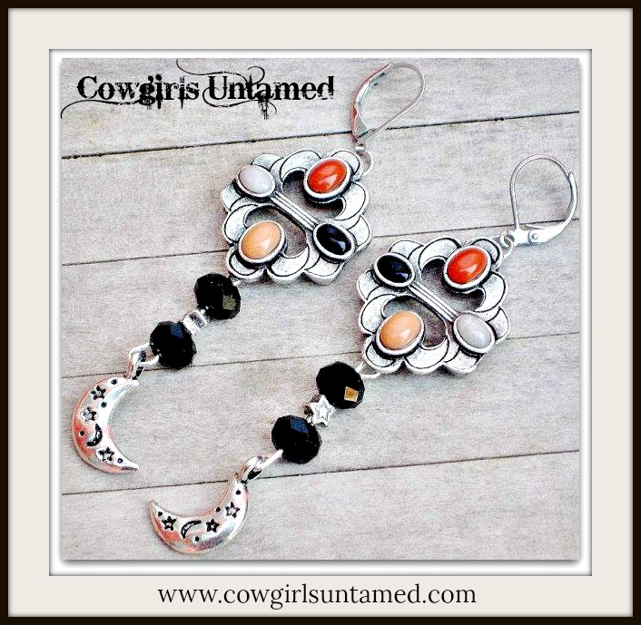 COWGIRL STYLE EARRINGS Black Crystals Coral Pewter Star Moon Charms Long Earrings