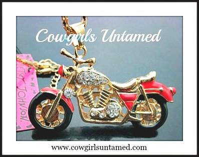 BIKER GAL NECKLACE Golden Crystal Motorcycle Red Biker Pendant & Crystal Long Western Necklace