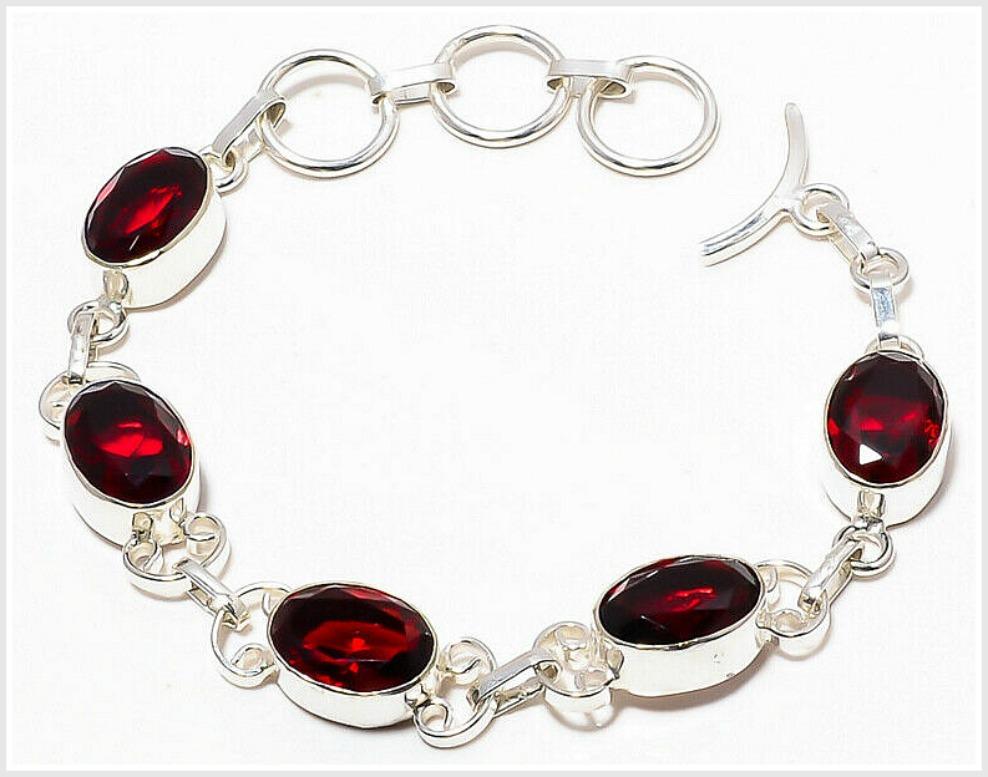 """COWGIRL GLAM BRACELET Mozambique Red Garnet Gemstone 925 Sterling Silver Bracelet 6""""-7"""""""