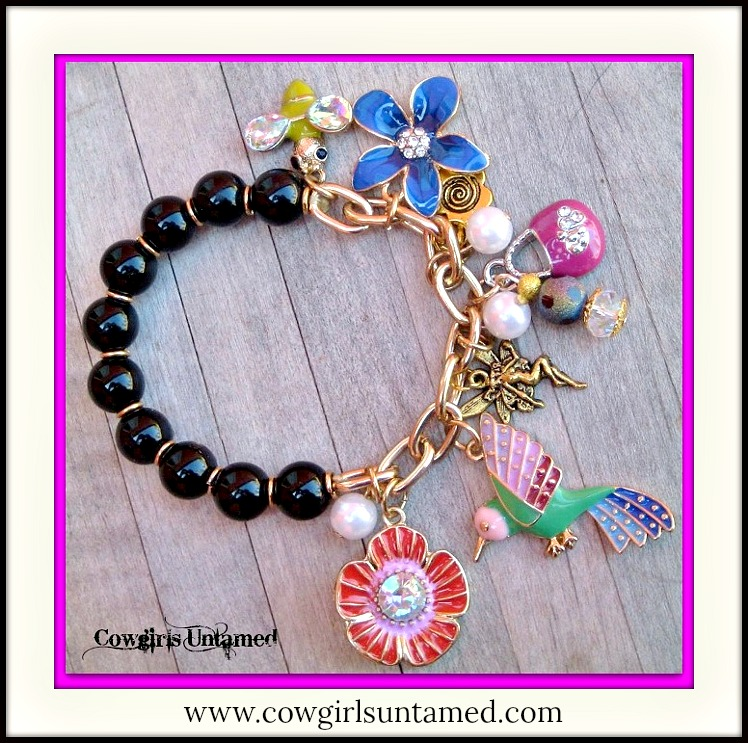 COUNTRY COWGIRL BRACELET Multi Color Charms Gold Chain Bracelet