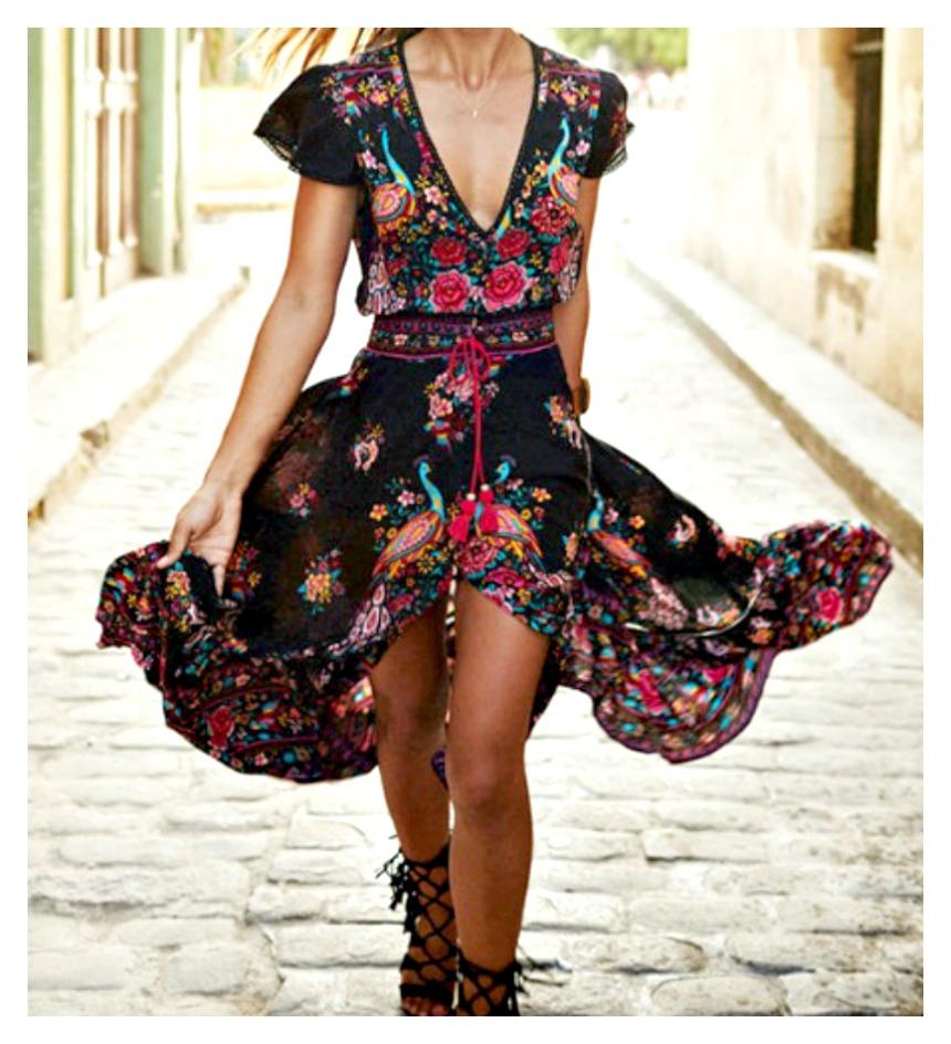 WILDFLOWER DRESS Multi Color Floral Deep V Black Boho High Low Dress LAST ONES 2 SMALLS