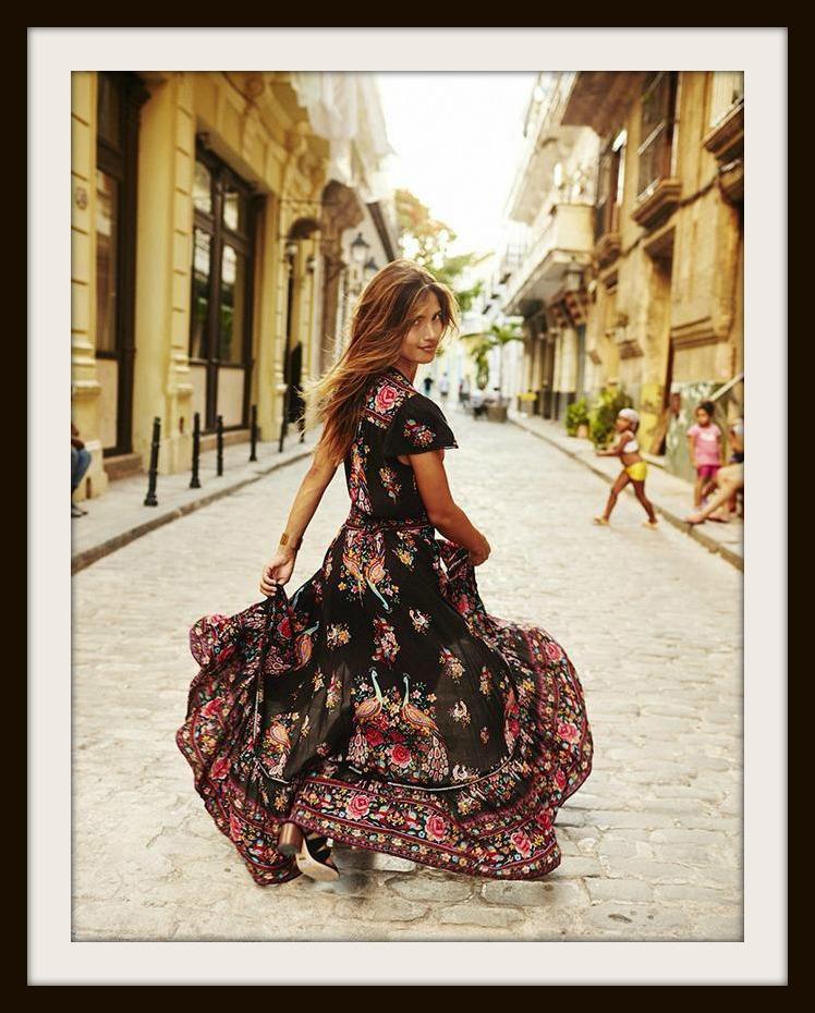 Multi Color Floral Deep V Lace Trim Sleeve Black Boho High