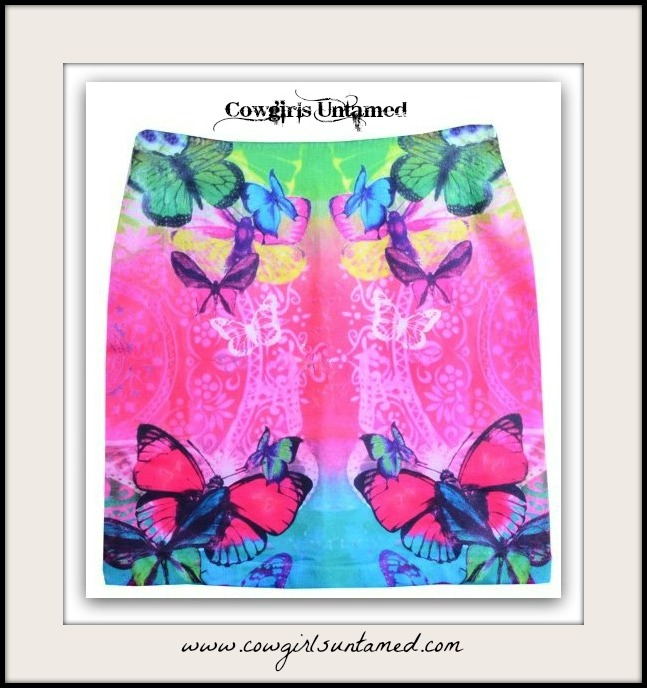 COWGIRL GYPSY SKIRT Multi Color Butterfly Stretchy Boho Mini Skirt