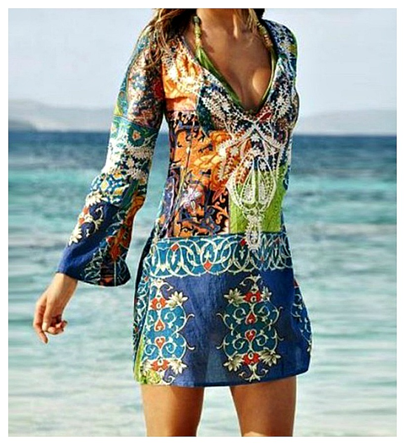 BOHO CHIC COVER UP Semi Sheer Multi Color Floral Boho Dress Cover Up