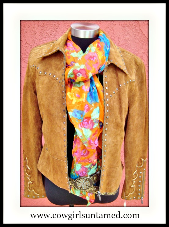 COWGIRL GYPSY SCARF Multi-Color Floral Scarf Shawl