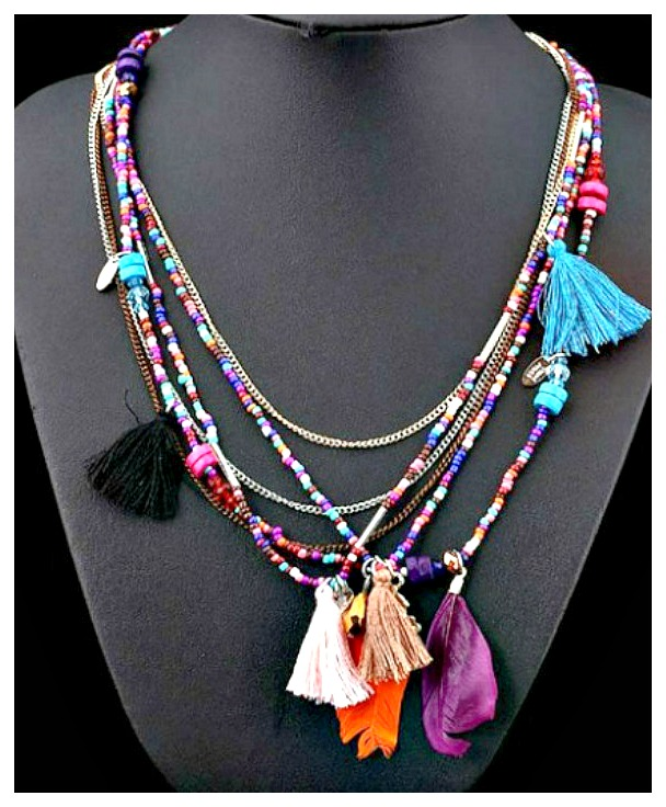 BOHO CHIC NECKLACE Multi Color & Multi Strand Beaded Chain Tassel Ethnic Boho Necklace