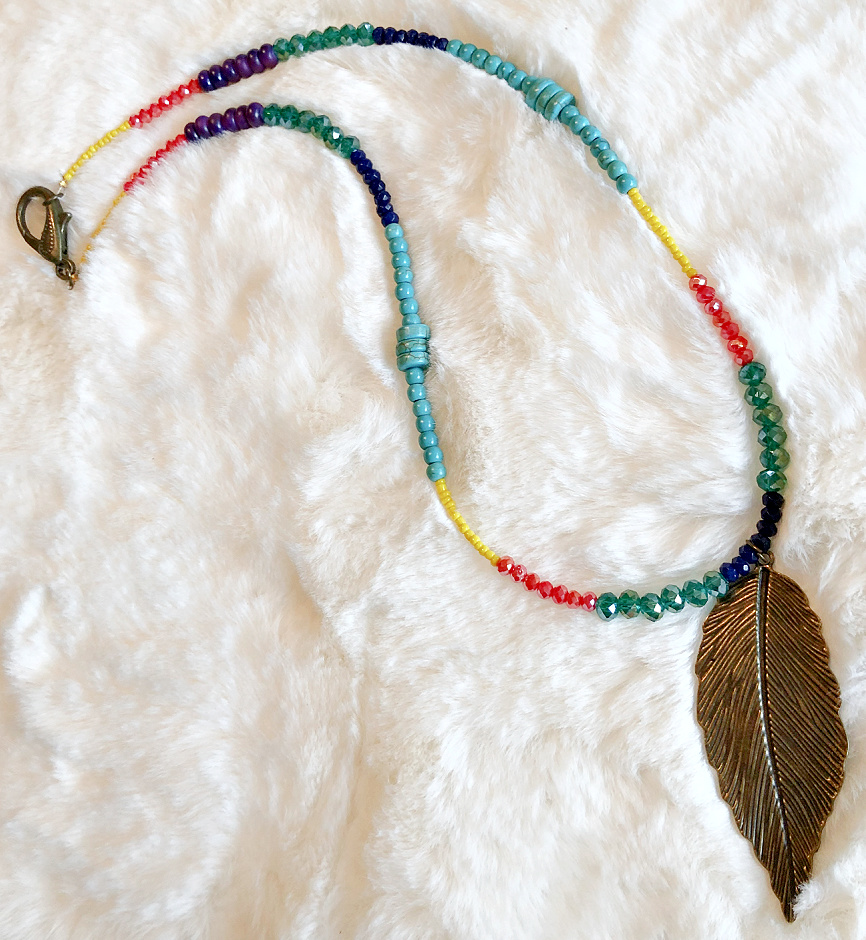 THE CHEYENNE DESERT NECKLACE Hand Beaded Turquoise Multi Color Crystal Blue Lapis Antique Bronze Feather Boho Cowgirl Necklace