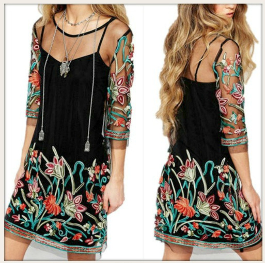 BOHEMIAN COWGIRL DRESS Multi Color Half Sleeve Embroidered Sheer Black Dress