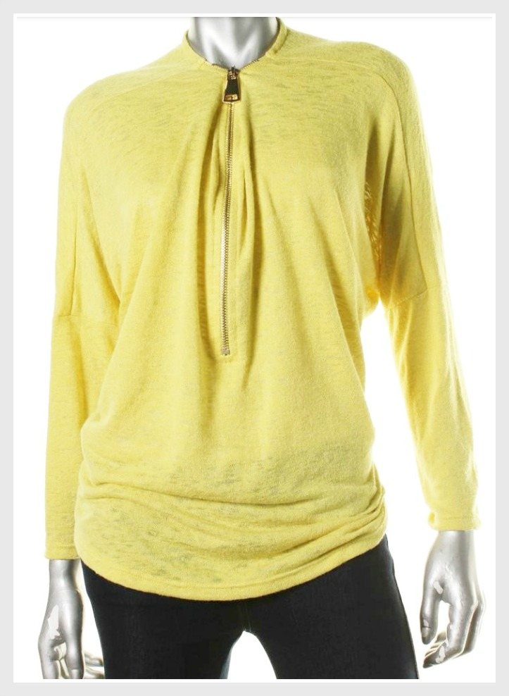 DESIGNER SWEATER Yellow Zipper Neckline Long Sleeve Designer Sweater LAST ONE LARGE