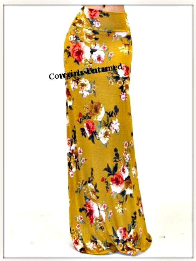BOHEMIAN COWGIRL SKIRT Floral Gold Long Maxi Skirt  S/M and M/L