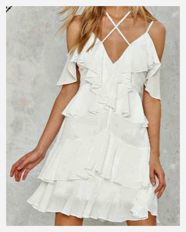 NASTY GAL DRESS Criss Cross Neckline White Ruffle Mini Dress  LAST ONE  S/M