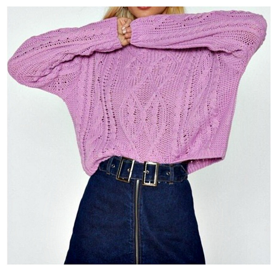 LEAVE KNIT TO ME SWEATER Dusty Pink Cableknit Cropped Mock Turtleneck Oversized Sweater  LAST ONE S