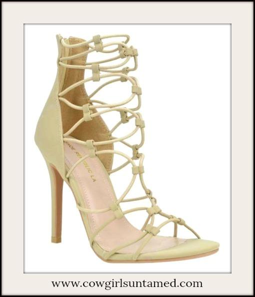 BOHO CHIC SHOES Natural Gladiator Heels