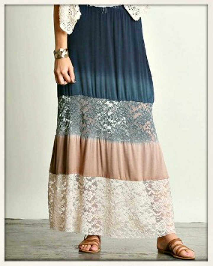 COWGIRL GYPSY SKIRT Navy Blue to Mocha Ombre Lace Boho Maxi Skirt