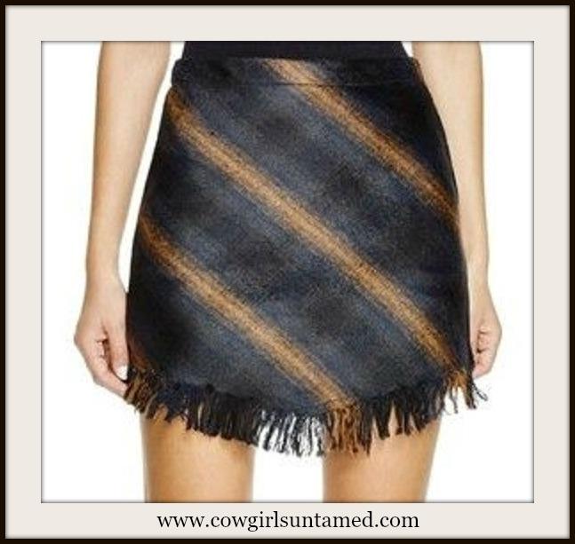DESIGNER SKIRT Navy and Brown Fringe Designer Mini Skirt
