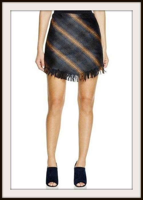 Navy And Brown Fringe Designer Mini Skirt By Sanctuary