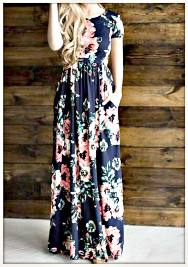 db8afb8f2774 Navy Blue Floral Short Sleeve Elastic Waist Long Summer Maxi Dress ...