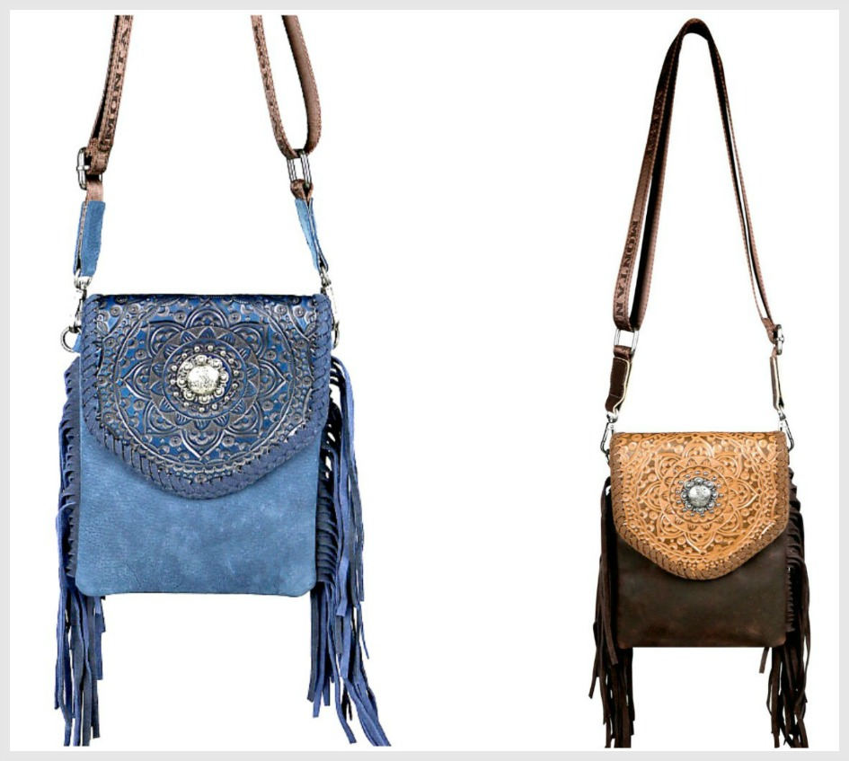 ON THE FRINGE BAG Montana West 100% Genuine Leather Tooled Western Crossbody 3 COLORS!g 2 COLORS!