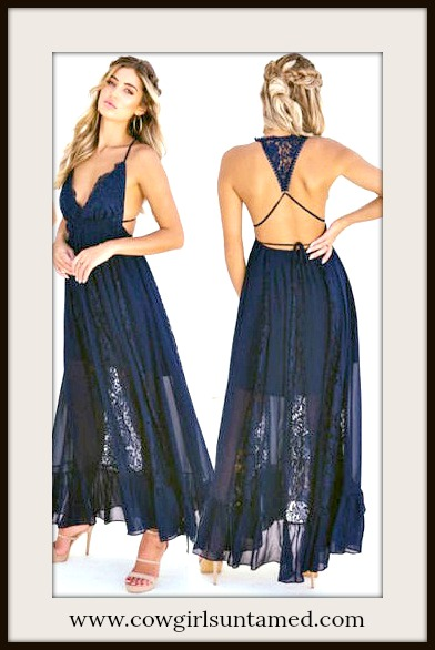 BOHO CHIC DRESS Navy Blue Sleeveless Chiffon & Floral Lace Open Back Maxi Dress