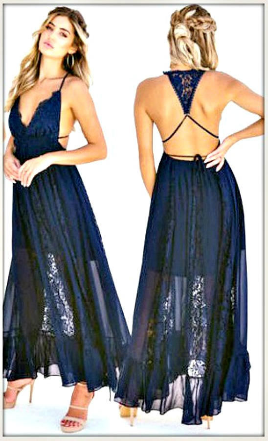 BOHO CHIC DRESS Navy Blue Sleeveless Chiffon & Floral Lace Open Back Maxi Dress  LAST ONE Medium