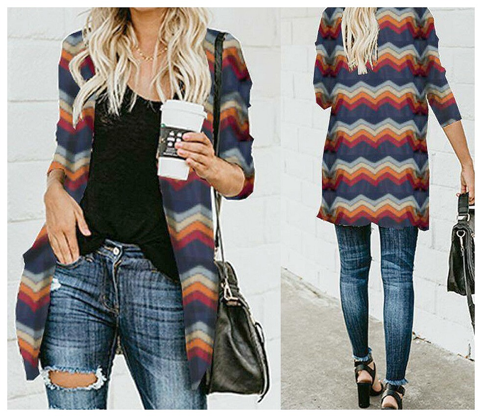 THE LEILA CARDIGAN Multi Color Chevron Stripe Long Sleeve Open Cardigan LAST ONE L