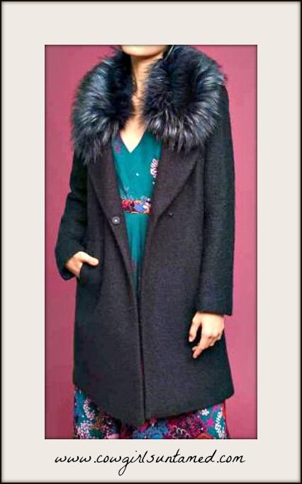 TOUCH OF GLAM COAT Navy Blue Faux Fur Collar Wool Blend Designer Coat MISSES & PLUS SIZE