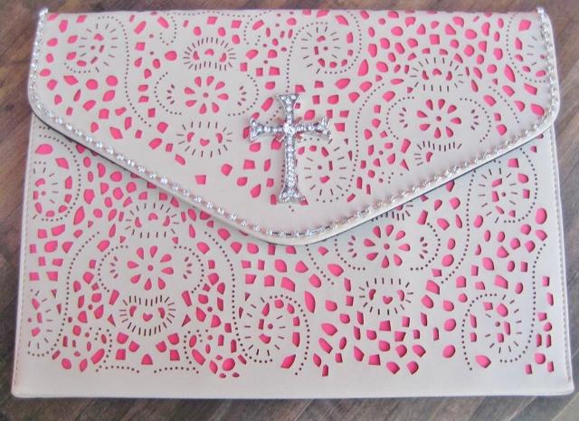 COWGIRL GLAM CLUTCH IPAD Neon Pink N Beige Floral Rhinestone Trim N Silver Crystal Cross Clutch or Ipad Holder